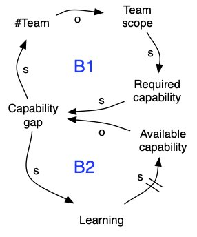 system diagram for team specializing in function, component or domain