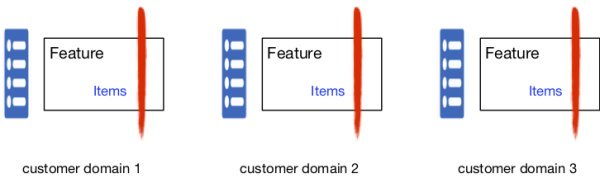 Feature teams specialize in customer domains