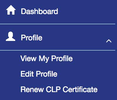 Renewal Certification Menu