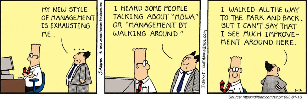 Dilbert walking around